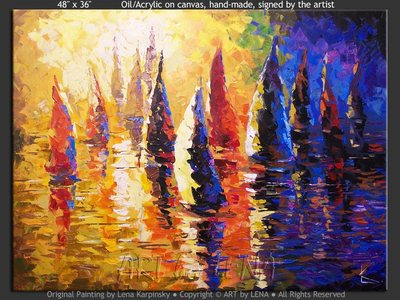 Sunset Regatta - original painting by Lena Karpinsky