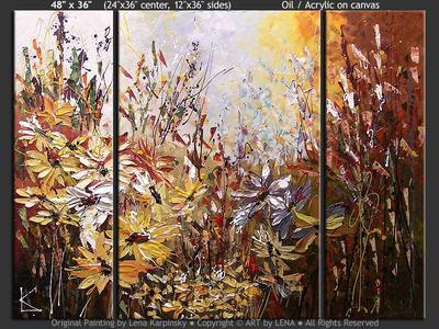Fleurs d'automne - original canvas painting by Lena