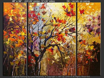 Late Autumn Leaves - contemporary painting