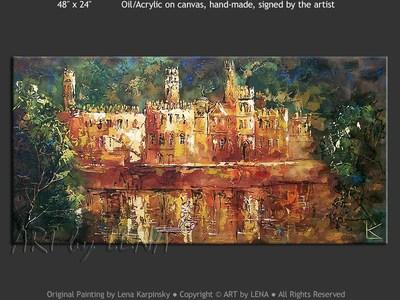 Irish Castle - original canvas painting by Lena