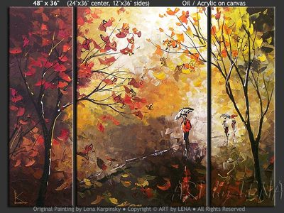 Autumn Rain Melancholy - original canvas painting by Lena