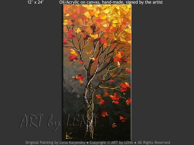 Red Leaves In The Night - modern artwork