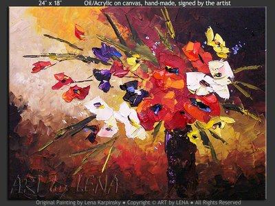My Little Bouquet - original canvas painting by Lena