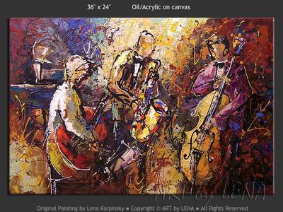Old Time Jazz - original canvas painting by Lena