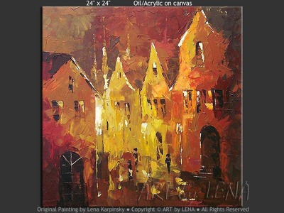 Burgundy Night - original canvas painting by Lena