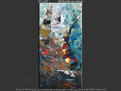 Lake Simcoe Sailing - original canvas painting by Lena