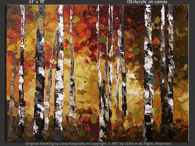 Autumn Birches - contemporary painting