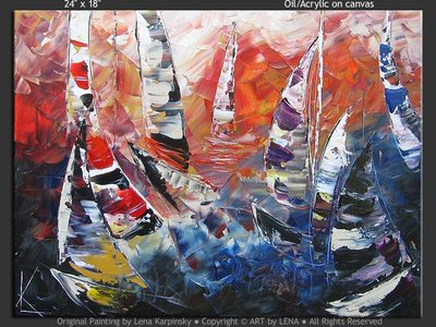 Scarlet Sunset Sails - wall art