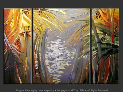 Everglades Sunset - original painting by Lena Karpinsky