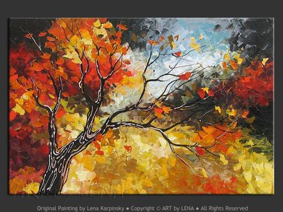 September Leaves - original canvas painting by Lena