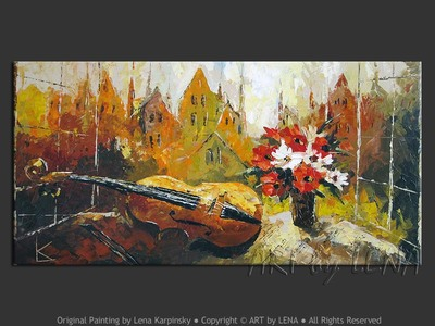 A Romantic Pause - original painting by Lena Karpinsky