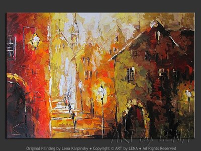 Old Town: Summer Night – 2 - home decor art