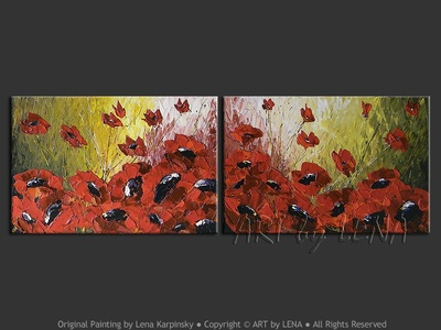 Maryland Poppies - original canvas painting by Lena