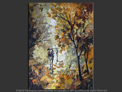 Autumn Rain Walk - original canvas painting by Lena
