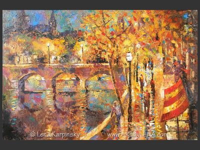 Bords de Seine Café - original canvas painting by Lena