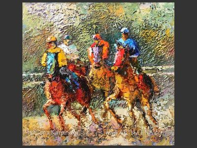 Kentucky Derby – 2 - original canvas painting by Lena
