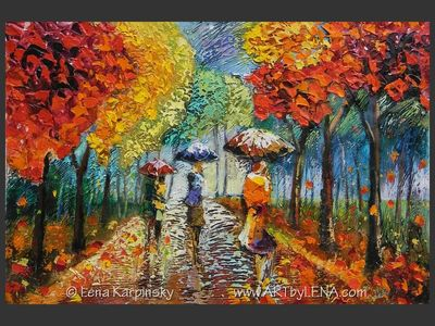 In The Gentle Rain - original canvas painting by Lena