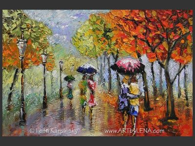 Out In The Rain - original canvas painting by Lena