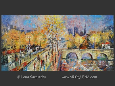 Paris Twilight - original painting by Lena Karpinsky