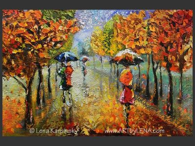 So Let It Rain - original painting by Lena Karpinsky