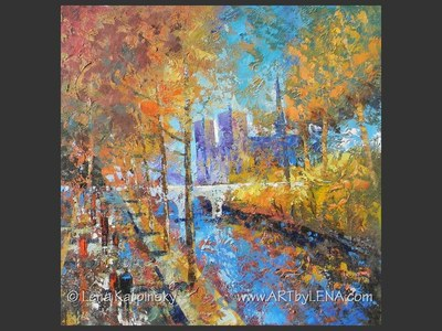 Paris Foliage - original painting by Lena Karpinsky