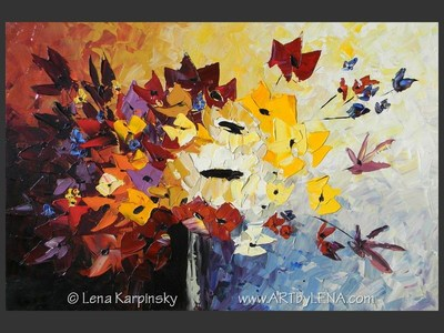My Heart's Bouquet - original painting by Lena Karpinsky