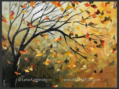 Autumn Wind Miniature - original painting by Lena Karpinsky
