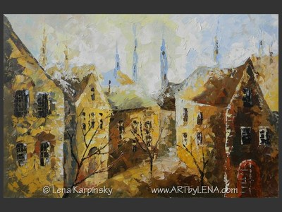 Old Town: Early Morning - contemporary painting