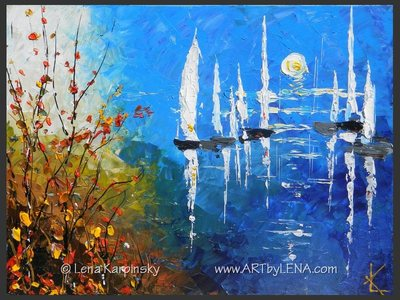 Oceans of Fantasy - original canvas painting by Lena